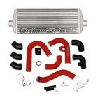 GrimmSpeed Front Mount Intercooler Kit Silver Core / Red Piping 2015-2021 WRX